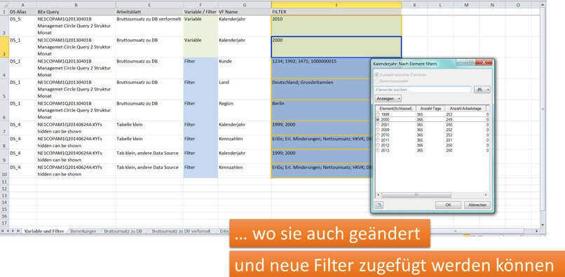 Alle Variablen und Filter auf einem WorkSheet