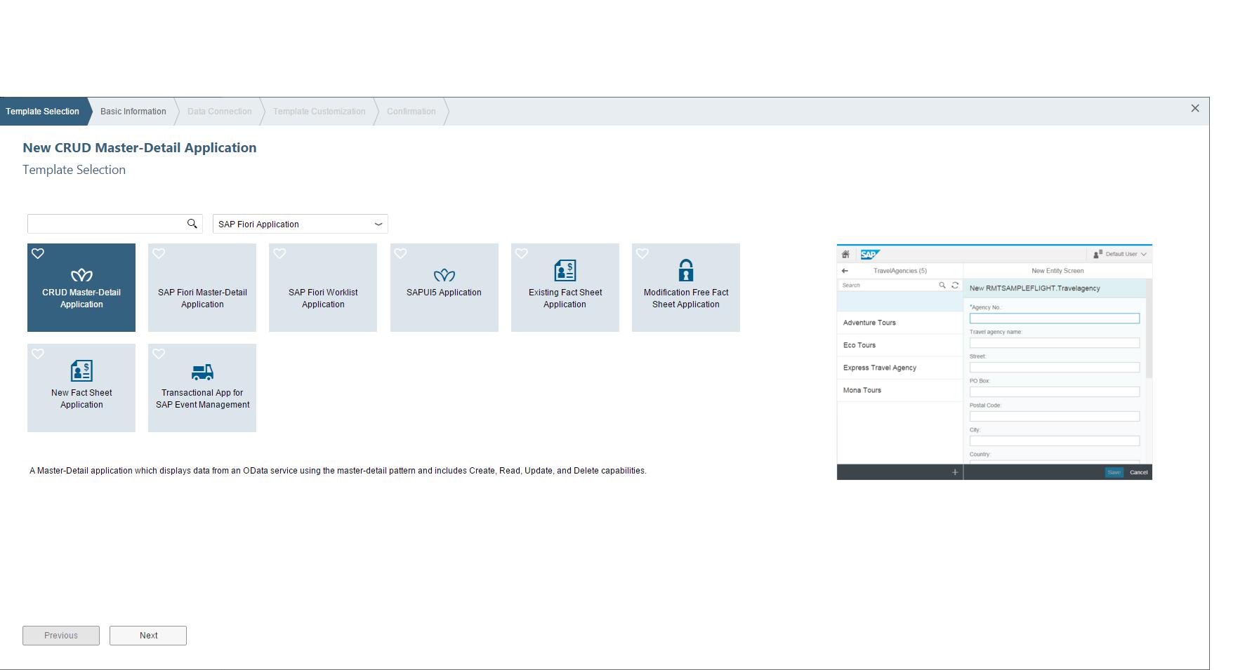 Template-Auswahl in der SAP Web IDE